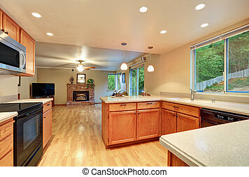 Interior design of nice kitchen room with the living room view.