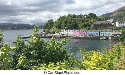 View, colorful buildings in Portree, Skye, Scotland - A...