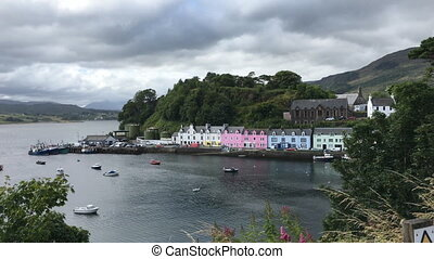 View of colorful buildings in Portree, Isle of Skye,...
