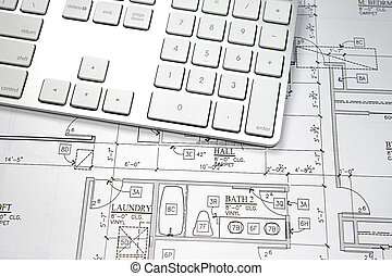 Computer Blueprint - Modern architect\'s office with...