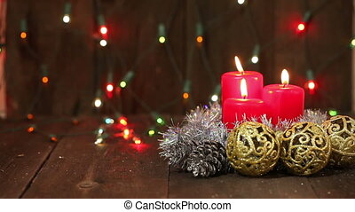 Christmas arrangement. Burning candles HD