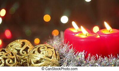Christmas arrangement Burning candles HD