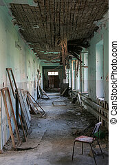 Terrible destroyed interior of old building. Destructed roof...