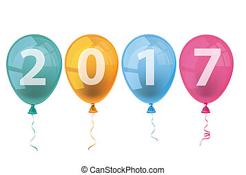 4 Colored Balloons 2017 - Text 2017 with colored balloons on...