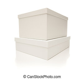 Stacked White Boxes with Lids Isolated on Background