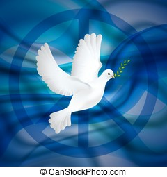 Peace dove with olive branch for International Day poster on the blue waves background.