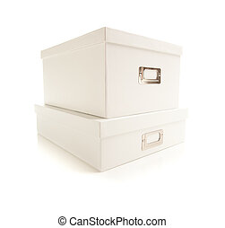 Stacked White File Boxed Isolated on Background