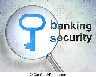 Security concept: Key and Banking Security with optical glass