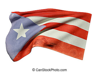 Commonwealth of Puerto Rico flag waving - 3d rendering of an...