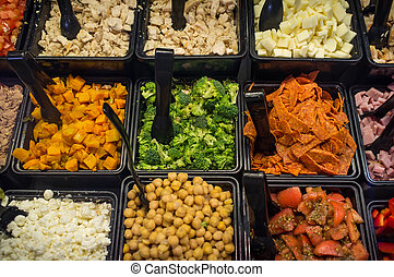 Assorted Salad Bar - Various fresh fruit and vegetable salad...