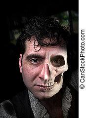 Man Half Skull - Horror portrait of man with skull for half...