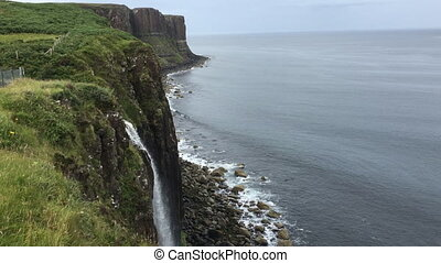 Waterfall into sea, Isle of Skye, Scotland - A Waterfall...