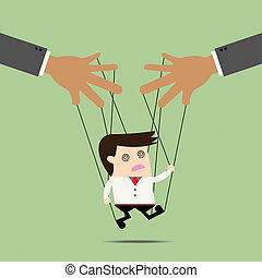 Businessman puppet on ropes Business manipulate behind the...