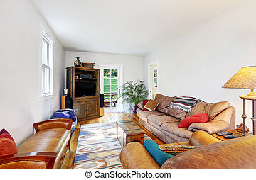 White walls living room with brown sofas