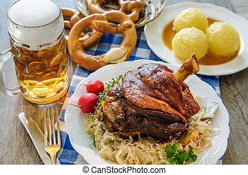 Appetizing Bavarian roast pork knuckle