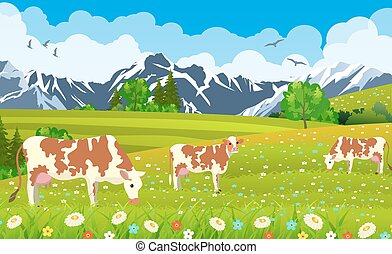 three cows in a landscape and farm. - Three cows in a...