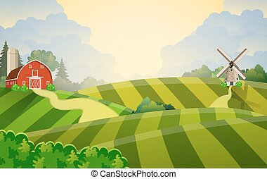 Cartoon farm green seeding field, - Cartoon farm field green...