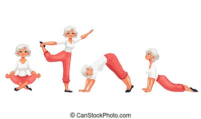 Set with beautiful senior woman in various poses of yoga,...