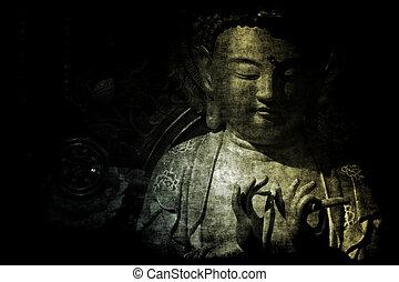 Kinesisk, tempel, abstrakt, bakgrund, tapet