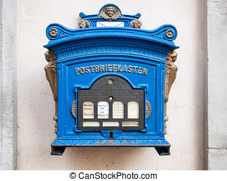 Post box, blue, German