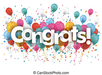 Confetti Balloons Congrats - Balloons with confetti and text...