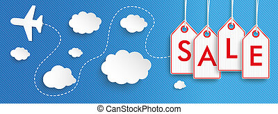 Hanging Price Stickers Flights Sale Header - Hanging price...