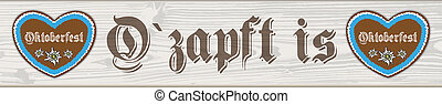 Oktoberfest Header Hearts Wooden Plank - German text...