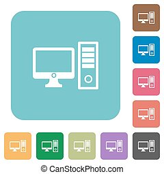 Flat desktop computer icons on rounded square color...