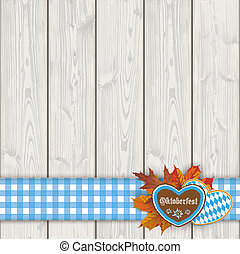 Oktoberfest Blue Tablecloth Wooden Planks - Gingerbread...