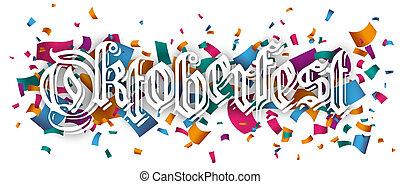 Oktoberfest Header Colored Confetti - Colored confetti with...