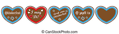 "Oktoberfest Header Hearts Set - German text ""O´zapft is"" and..."