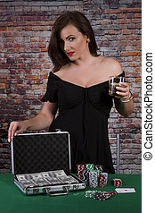 Full Suitcase - Sexy women with glass of drink at the poker...