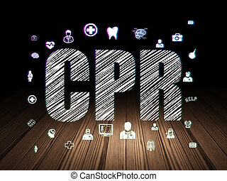 Health concept: CPR in grunge dark room - Health concept:...
