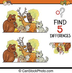 differences game for children - Cartoon Illustration of...