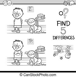 differences activity coloring page - Black and White Cartoon...