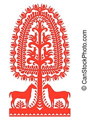Polish folk art pattern - Kurpie - Vector design of horse,...