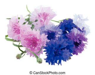 Blue and pink cornflowers - Low poly illustration Bunch of...