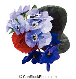 Posy of violets, pansies and ranunculus - Low poly...