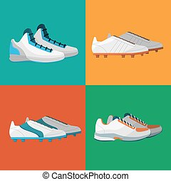 Various sport shoes icons set - Sport shoes icons vector...
