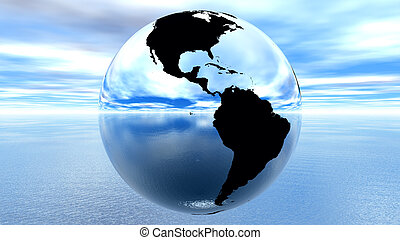 earth against blue sky on water - chrome earth against blue...