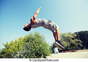 verão,  sporty, parque, jovem, Pular, homem