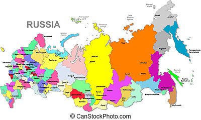 Russian federation map - Color Russia map over white