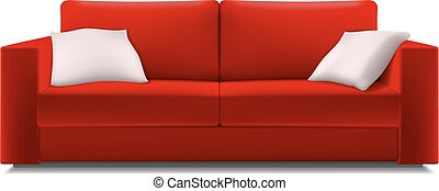 Red sofa with white pillows