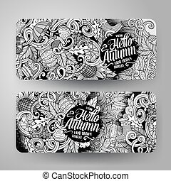 Cartoon vector hand drawn doodles Autumn banners - Cartoon...