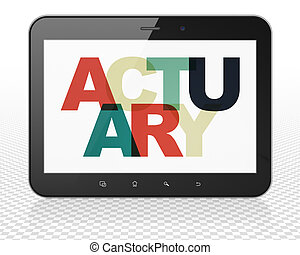 Insurance concept: Tablet Pc Computer with Actuary on...