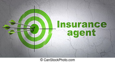 Insurance concept: target and Insurance Agent on wall...
