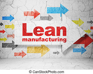 Manufacuring concept: arrow with Lean Manufacturing on...