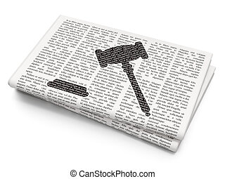 Law concept: Gavel on Newspaper background - Law concept:...