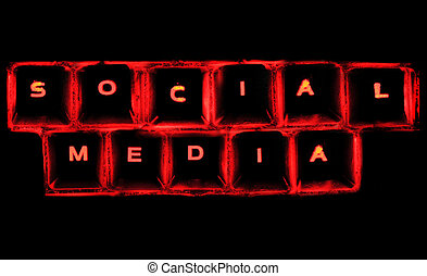 Social Media - The word social media on a glowing computer...