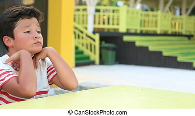 Lonely child boring - Portrait of a depressed preteen boy